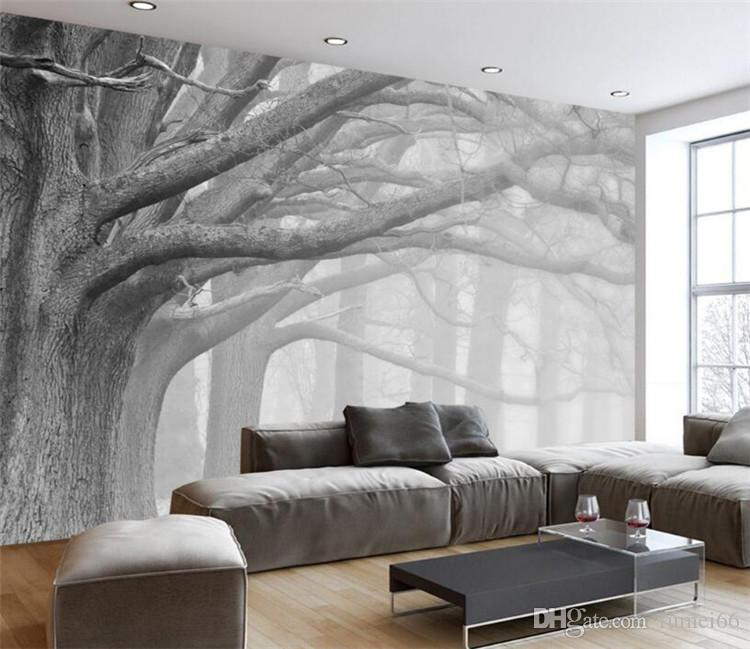 Wallpaper Black Wall White And Mural Tree
