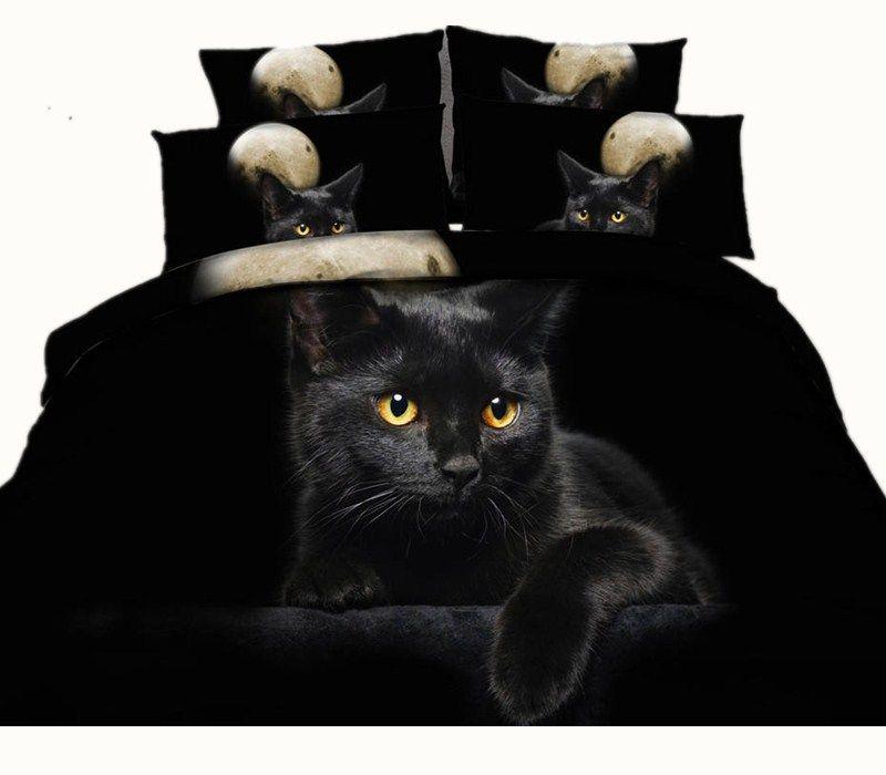 Moon Black Cat 3D Reactive Printed Bedding Sets Twin Full