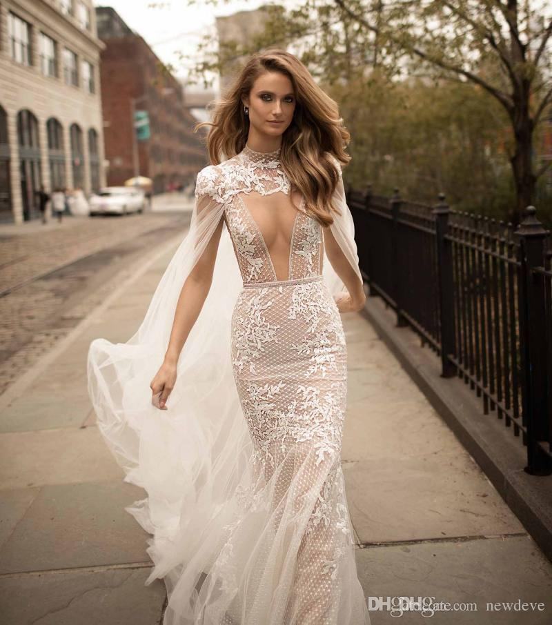 2019 Berta Lace Mermaid Wedding Dresses Detachable Cape Plunging Neck Backless Bridal Gowns