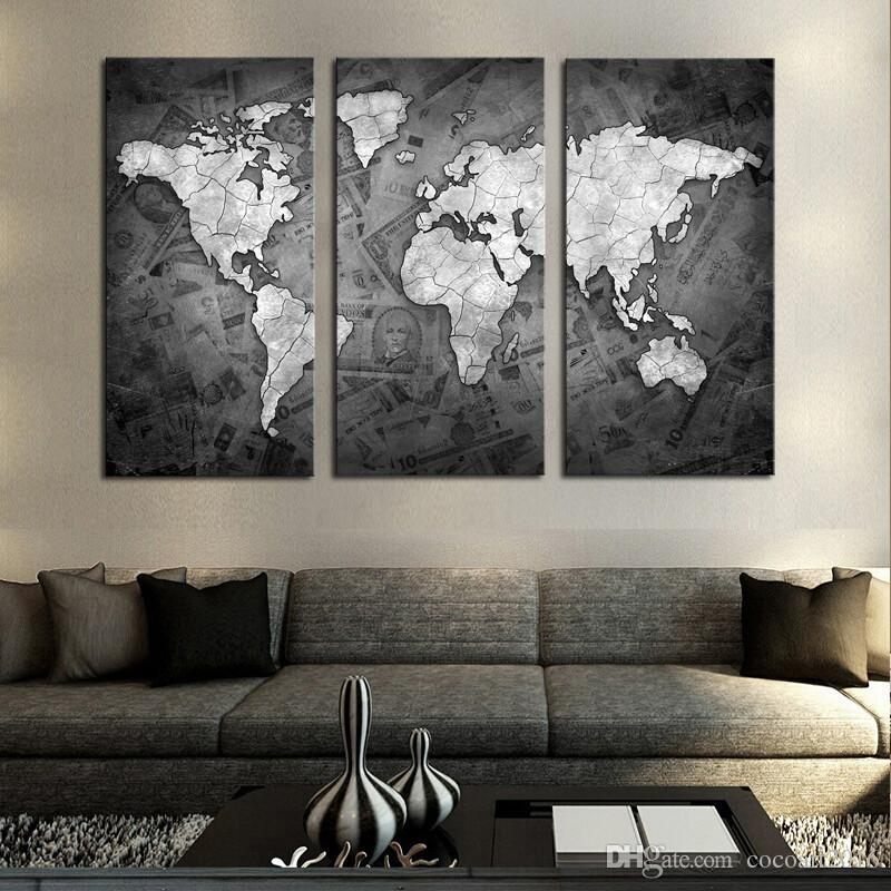contemporary artwork living room size of rug for frameless wall art classical grey color modern world map canvas painting picture uk 2019 from cocoart2016