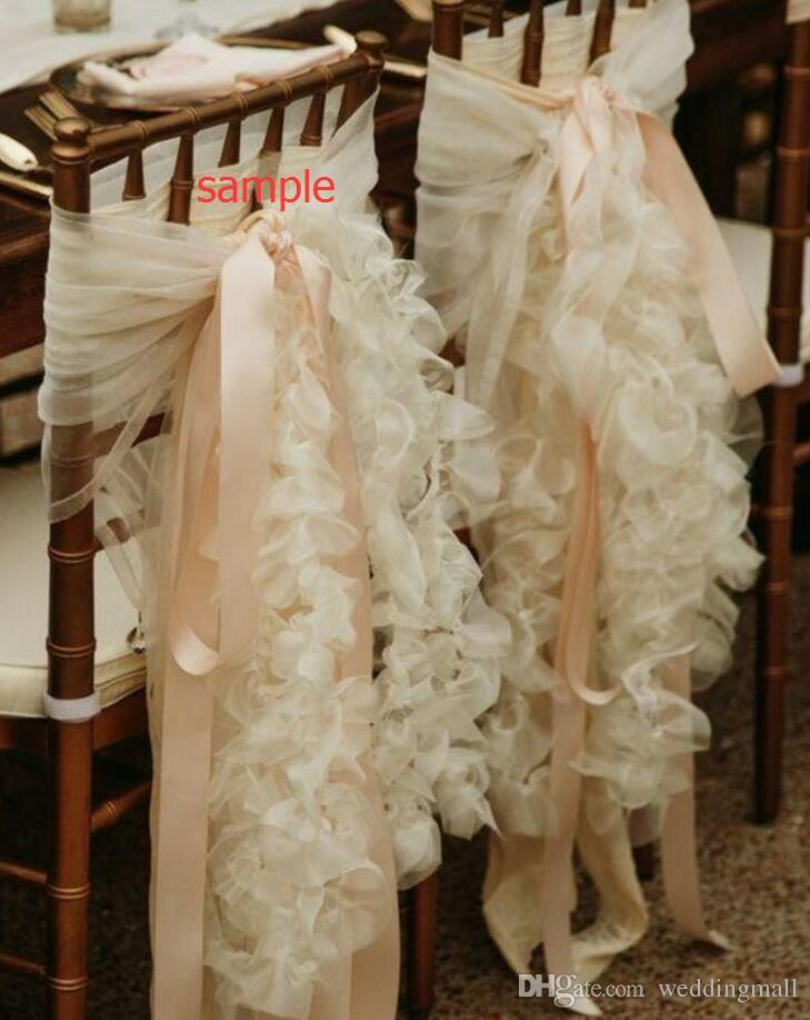 cream chair covers for weddings pub table and chairs 2019 2017 link organza ruffles with pink ribbon romantic description