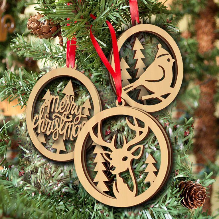 Wood Christmas Ornament Wooden Laser Cutouts Bird Tree