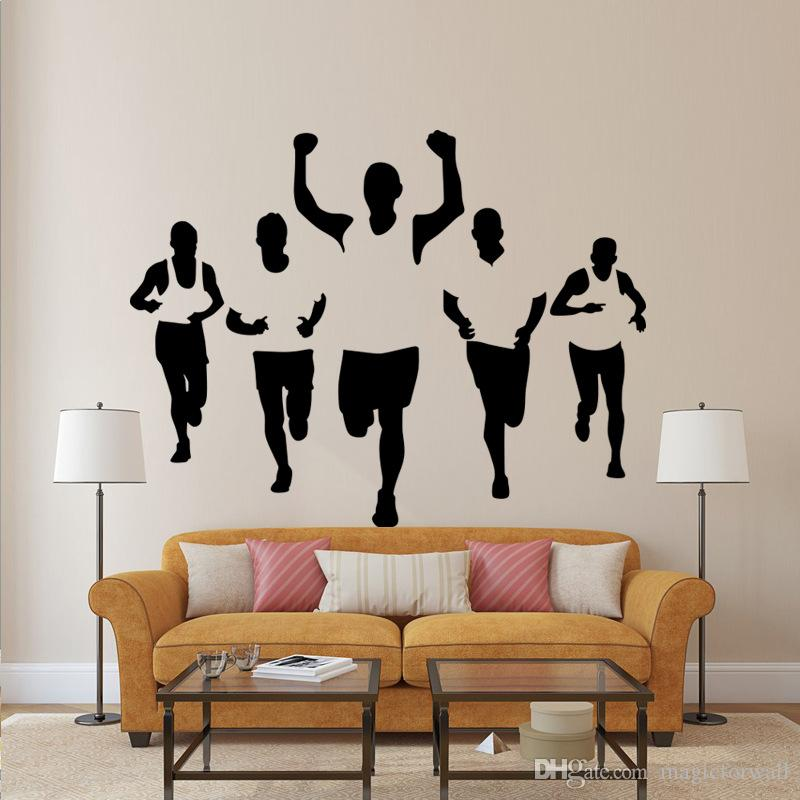 wall stickers living room open plan kitchen designs five athletes bedroom office walking sportsman decal home decor applique wallpaper poster for