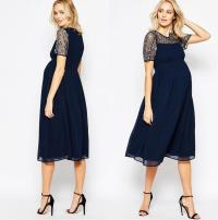 Dark Navy Maternity Bridesmaids Dresses Beaded Sequins ...