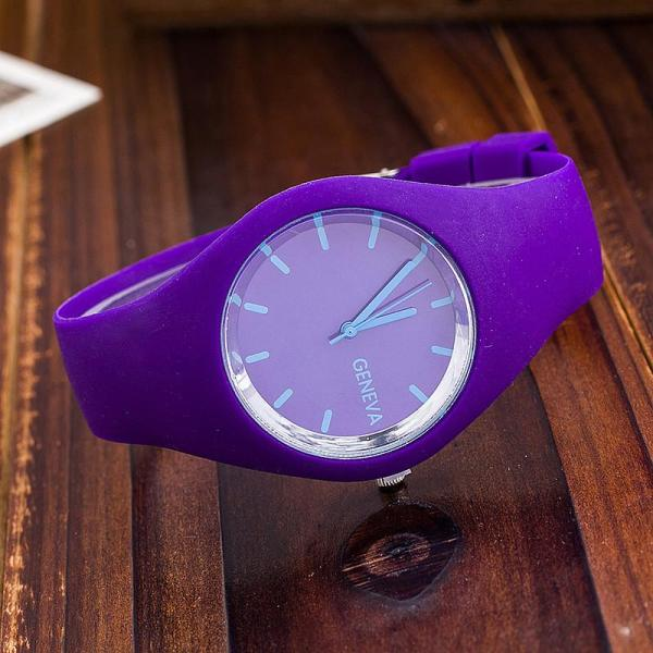 Ultra Thin Geneva Candy Color Silicone Watches Ms Student Leisure Jelly