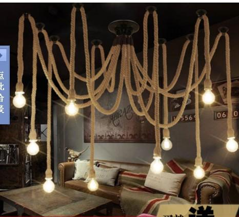 hanging pendant light living room decorate a small apartment 10 e27 rope droplight edison bulbs vintage net spider ...
