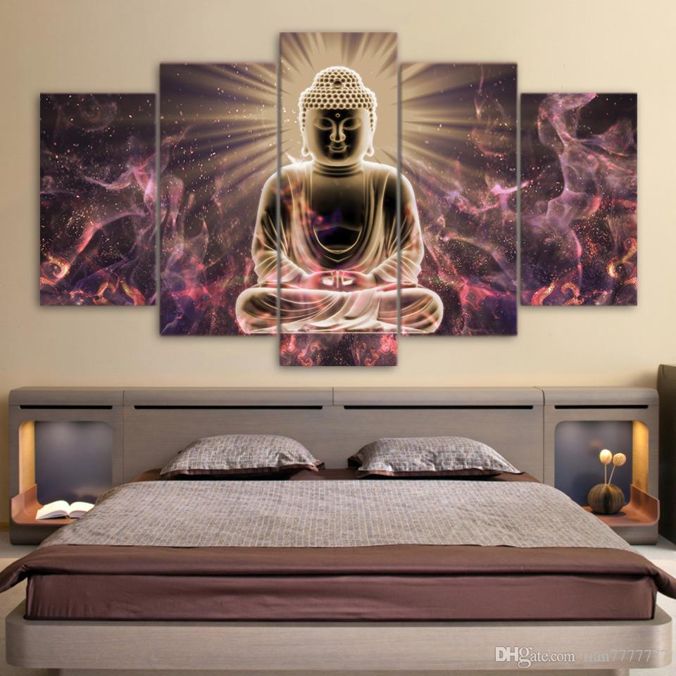 framed wall art for living room decorating ideas blue and brown new buddha s light canvas print painting 5 panel no frame pictures home decor poster