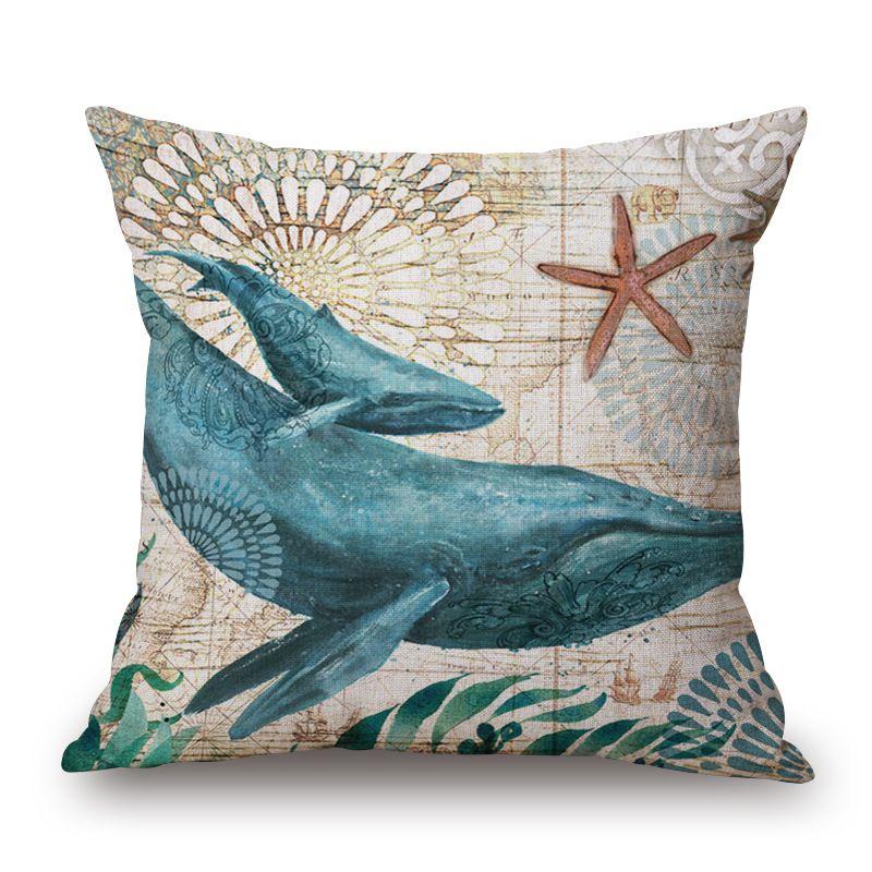 2016 New Cotton Linen Cushion Cover Retro Marine Life