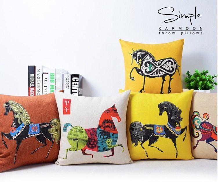 acheter forte cheval pentium vitesse beaute art peinture massager decoratif taie d oreiller couverture euro oreillers emoji home decor vintage cadeau de