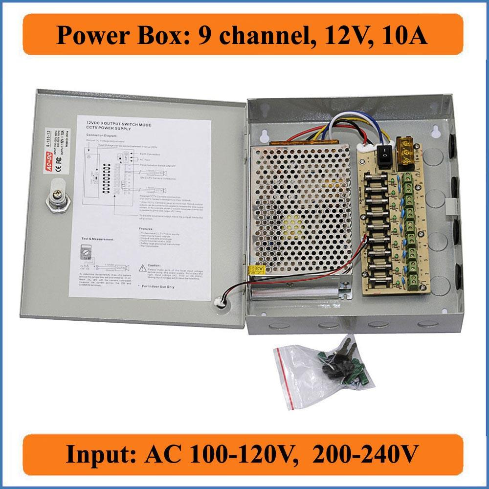 medium resolution of 9 channels dc 12v 10a cctv camera power box switching power suply box for cctv video camera 9ch port inout ac 100 240v to dc 12v power supply switches power