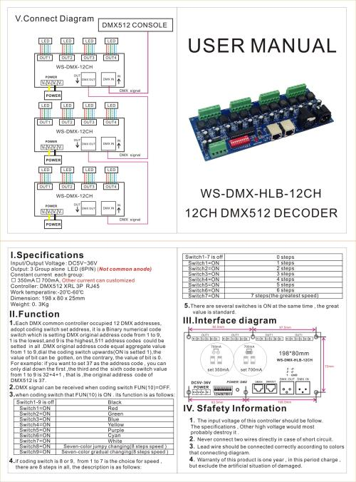 small resolution of 12ch 700ma constant current dmx dimmer controller 12 channel dmx 512 controller dc5v 36v output led dmx512 decoder for led wall washer lamp