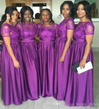 Nigerian Long Wedding Bridesmaid Dresses Purple Lace Short ...