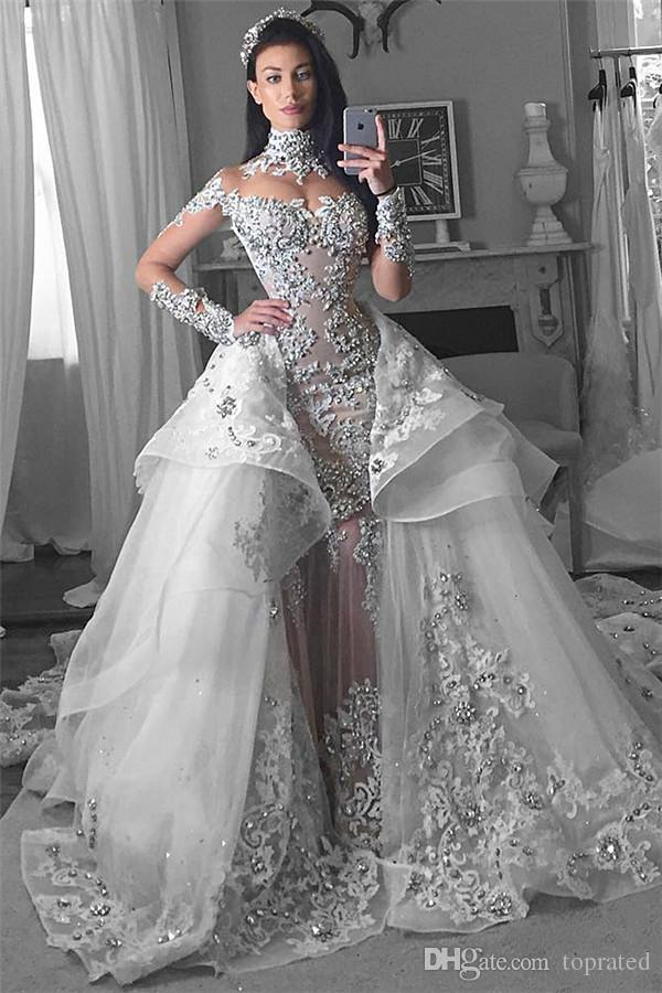 Glamorous Long Sleeves Rhinestone Mermaid Wedding Dresses
