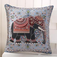 Chair Pad Covers Online India Anti Gravity Wholesale Elephant Cushion Cover Cotton Linen Pillowcase For Office Bedroom Seat 18x18 Inches Throw Pillow Home Decor