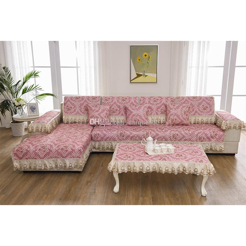 quilted embroidery sectional sofa couch slipcovers furniture protector cotton bed usa unique pink flower pastoral style pillow cushion price only for 1piece cover if you want a set that can completely your need to place order separately