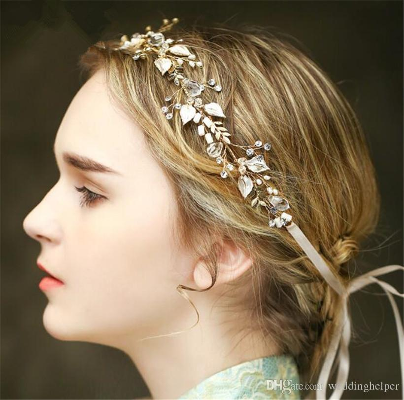 vintage wedding bridal crystal headband ribbon rhinestone crown tiara hair band jewelry gold leaf pearl hair accessories headdress piece wedding brooches