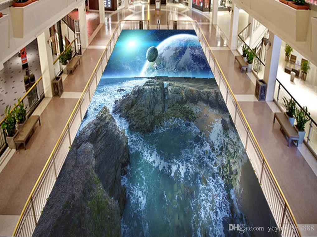 Vinyl Flooring Mural Custom 3d Floor Tiles Cosmic Sky Wall
