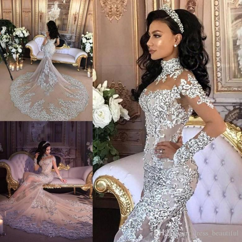 Gorgeous Queen Style Wedding Dresses Lace Appliques Sheer