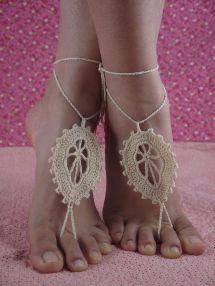 Handmade Crochet Black Leaves Barefoot Sandles Foot
