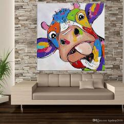 Best Artwork For Living Room Diy Floating Shelves 2018 Kagree Colorful Cow Head Painting Cute Animal ...