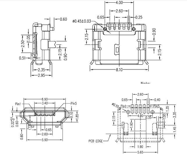 conector micro usb hembra diagrama