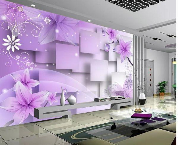 Customize Size 3d Purple Warm Flowers Tv Wall Mural