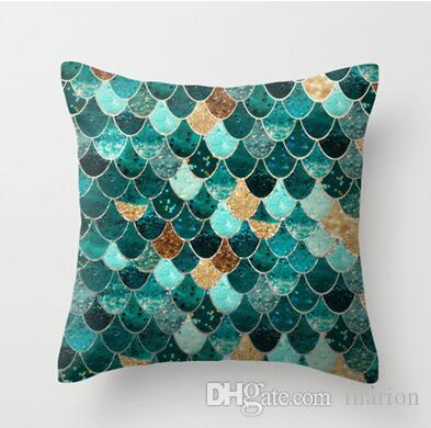 45 45 cm impression recto verso couleur vert paon ondulation housse de coussin taie d oreiller canape decor de menage coussin taie d oreiller