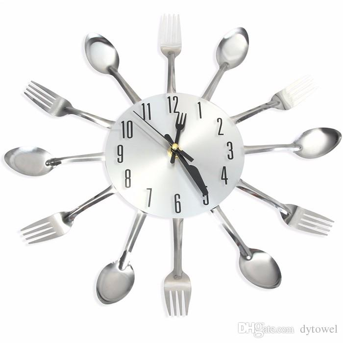 kitchen wall clocks complete remodel 2017 new sliver cutlery home decor spoon fork clock watch creative mirror stickers for kitchens