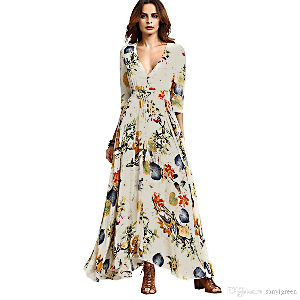 Women Summer Boho Dress Maxi Long 2018 Fashion Deep V Neck