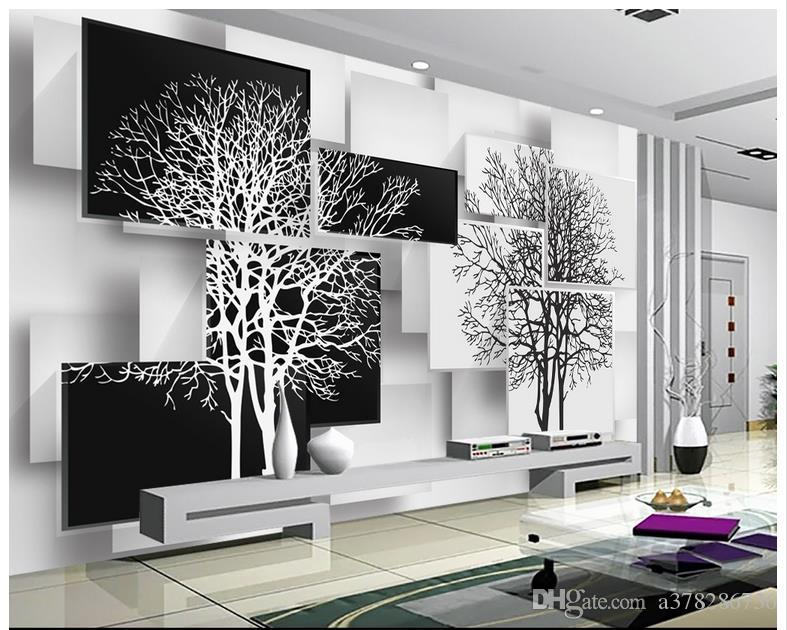 black and white wallpaper ideas for living room orange painted walls high quality custom 3d murals wall paper simple tree 3 d tv setting decor livingroom aishwarya rai