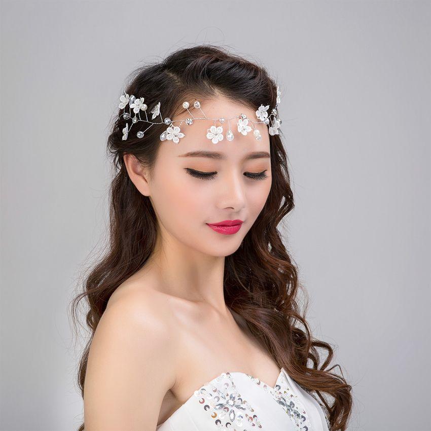 2019 women wedding hair jewelry tiara bride handmade lace flower pearl pandora glass beads headband wedding accessories for hair bridal hairband from
