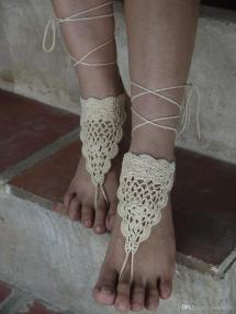 Black Crochet Barefoot Sandals Nude Shoes Foot Jewelry
