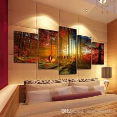Large Canvas Art For Living Room Stoves 2019 5 Panel Forest Painting Wall Picture Home Decoration Print Modern Cheap From Maplepainting