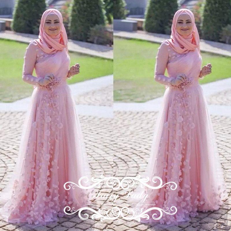 Amazing Pink Islamic Muslim Wedding Dresses 2018 Arabic