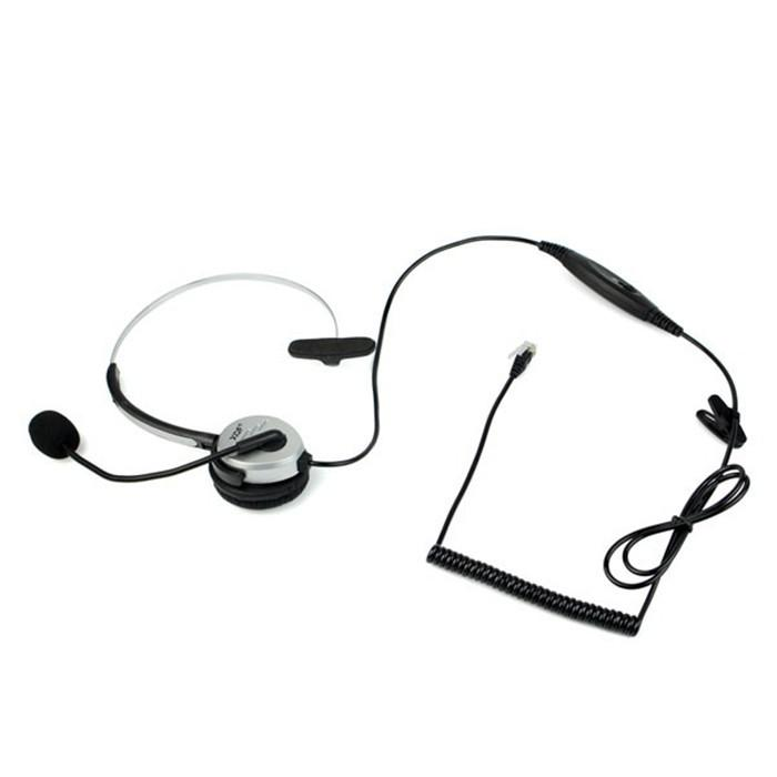 4 Pin Call Center Monaural Office Phone Headset + Coiled