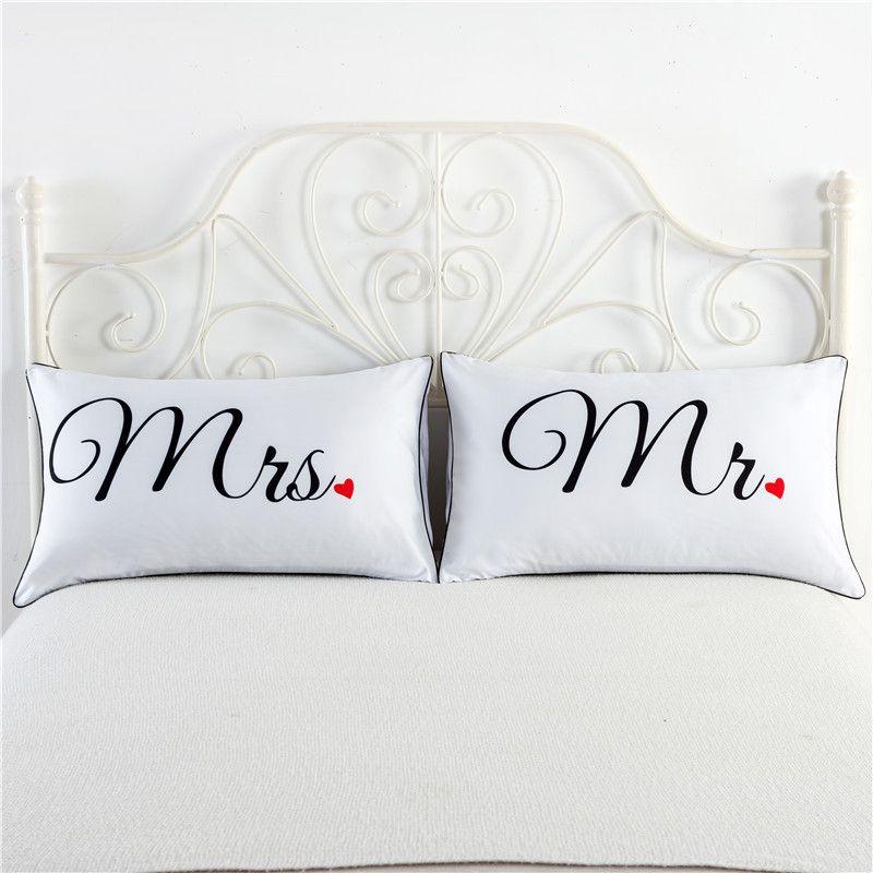 acheter monsieur et mme taie d oreiller taie d oreiller decorative etats unis reine taille 74x48cm romantique anniversaire de mariage saint valentin cadeau
