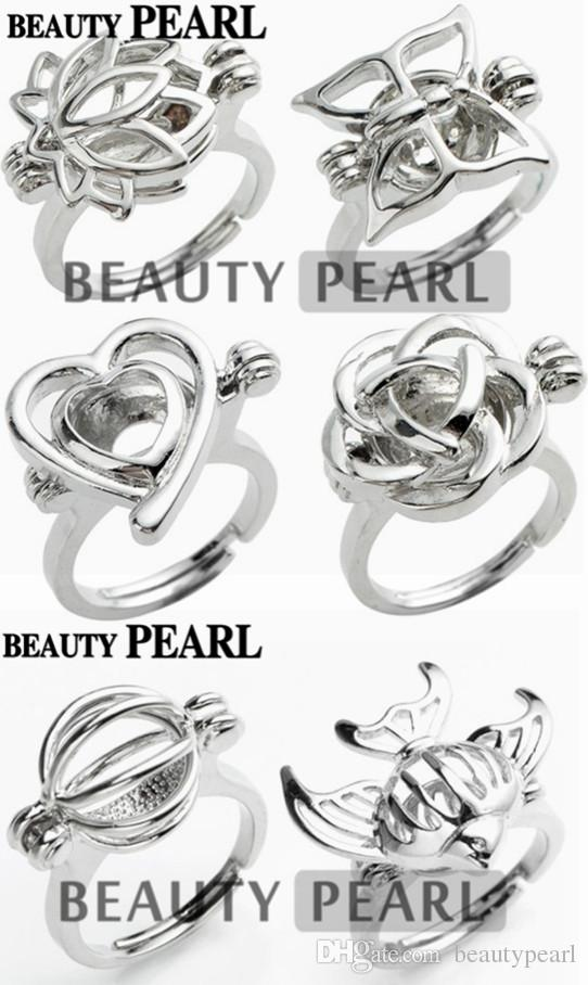 Pearl Ring Cage Mixed Lotus Butterfly Heart Rose Ball Fish