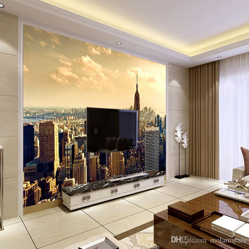 custom living room furniture rooms to go packages mural wallpaper modern city building scenery sofa tv background wall painting photography photo 3d hd