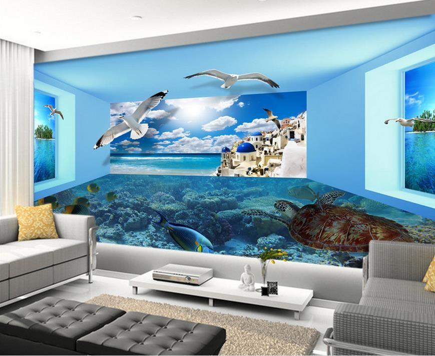 Custom 3d Stereoscopic Wallpaper Sea View Space Living