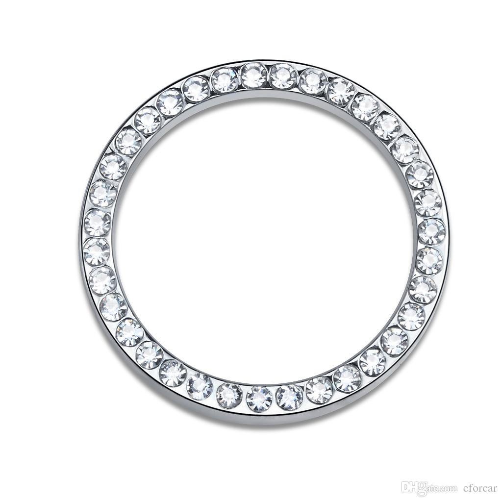 Rhinestone Car Ring Emblem Stickers Decal For Vehicle Ignition Starter Buttons Keys Knobs