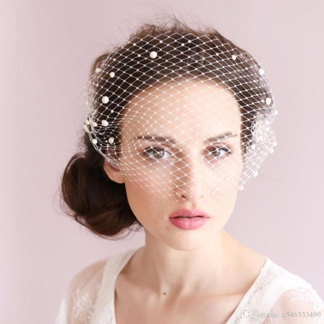 pearl beaded birdcage veil one layer delicate handmade net bridal hair accessories 2017 new style