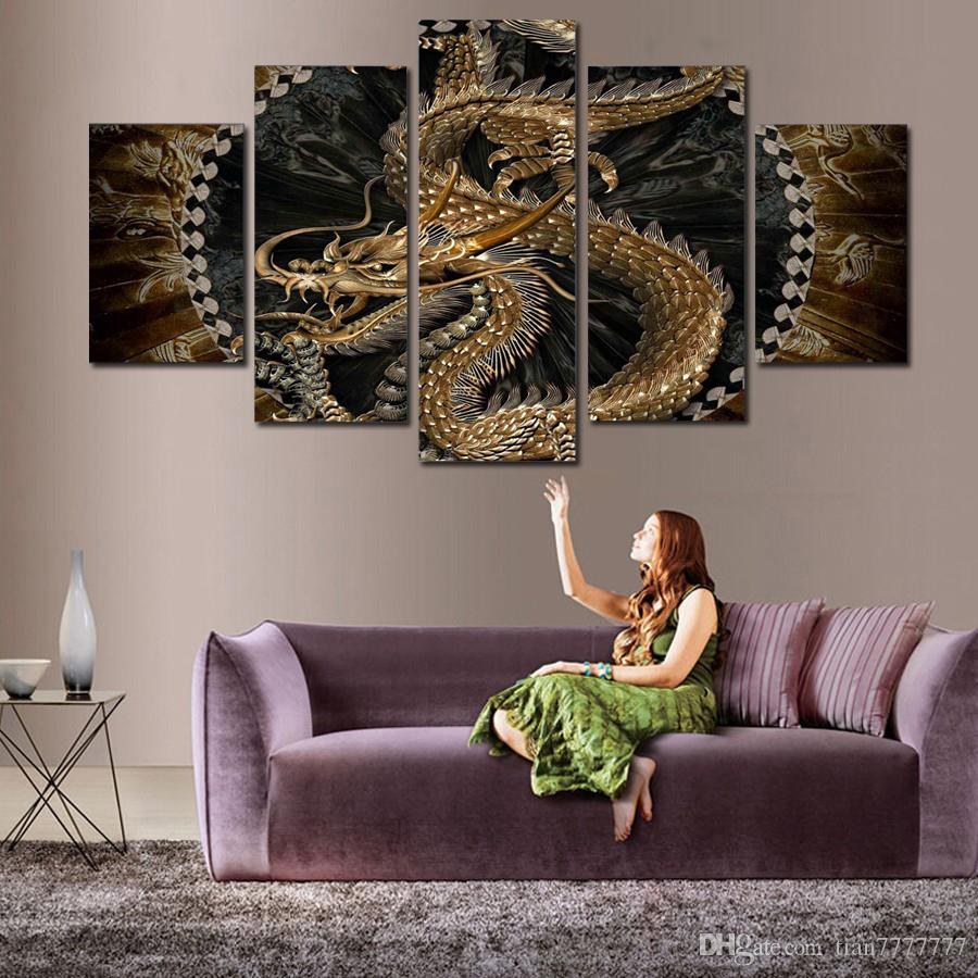 animal dragon canvas painting wall art digital printing picture for
