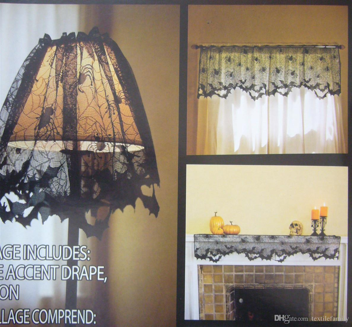 Halloween Spider Web Bat Lamp Shade Cover Spider Black Lace Sheer Curtains Valance Mantle Scarfs