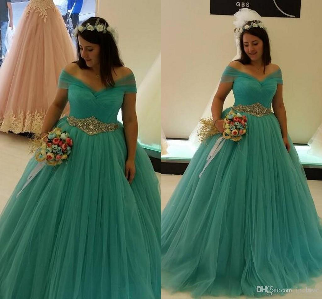 plus size turquoise wedding dresses ball gown off shoulder diamonds belt tulle princess 2017 bridal gowns custom size discount dresses gold wedding dress