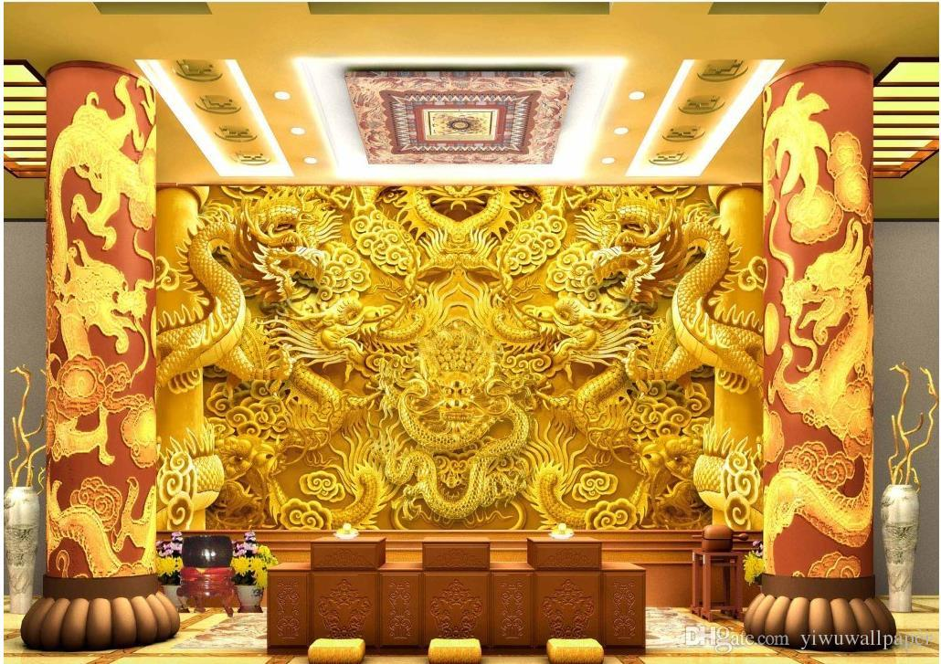 3d Wallpaper For Home Wall India Custom Any Size 3d Gold Dragon Stereo Wall Mural 3d