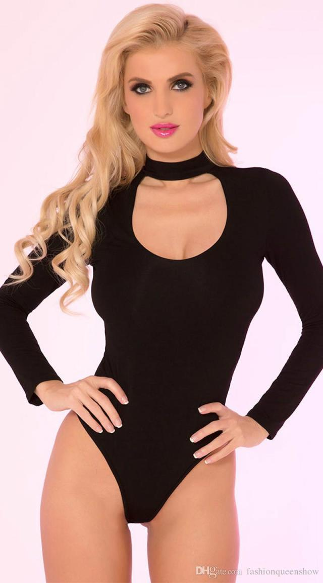 2019 Women Stretch High Cut Leotard Sexy Long Sleeve Bodysuit Hollow Out Neck Jumpsuit Ladies Stage Dancing Wear From Fashionqueenshow 10 05 Dhgate Com