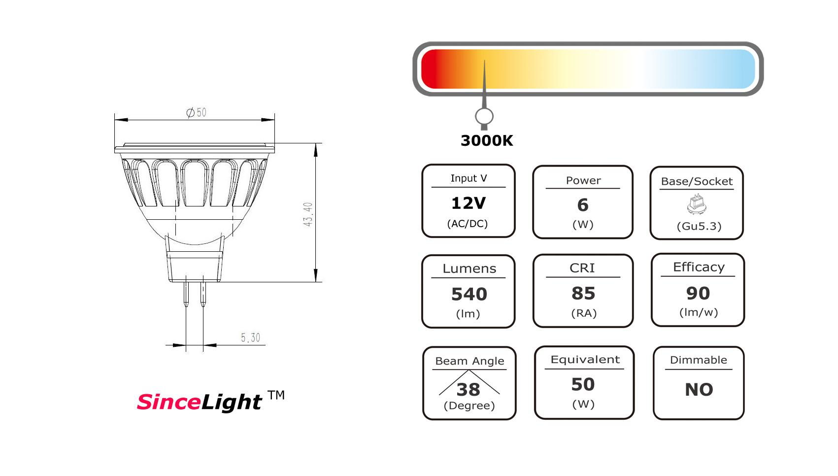 Led Mr16 12vac 12vdc 6w Spot Light Bulb 540lm Gu5 3 Ra80 Bridgelux Chip And Transformer