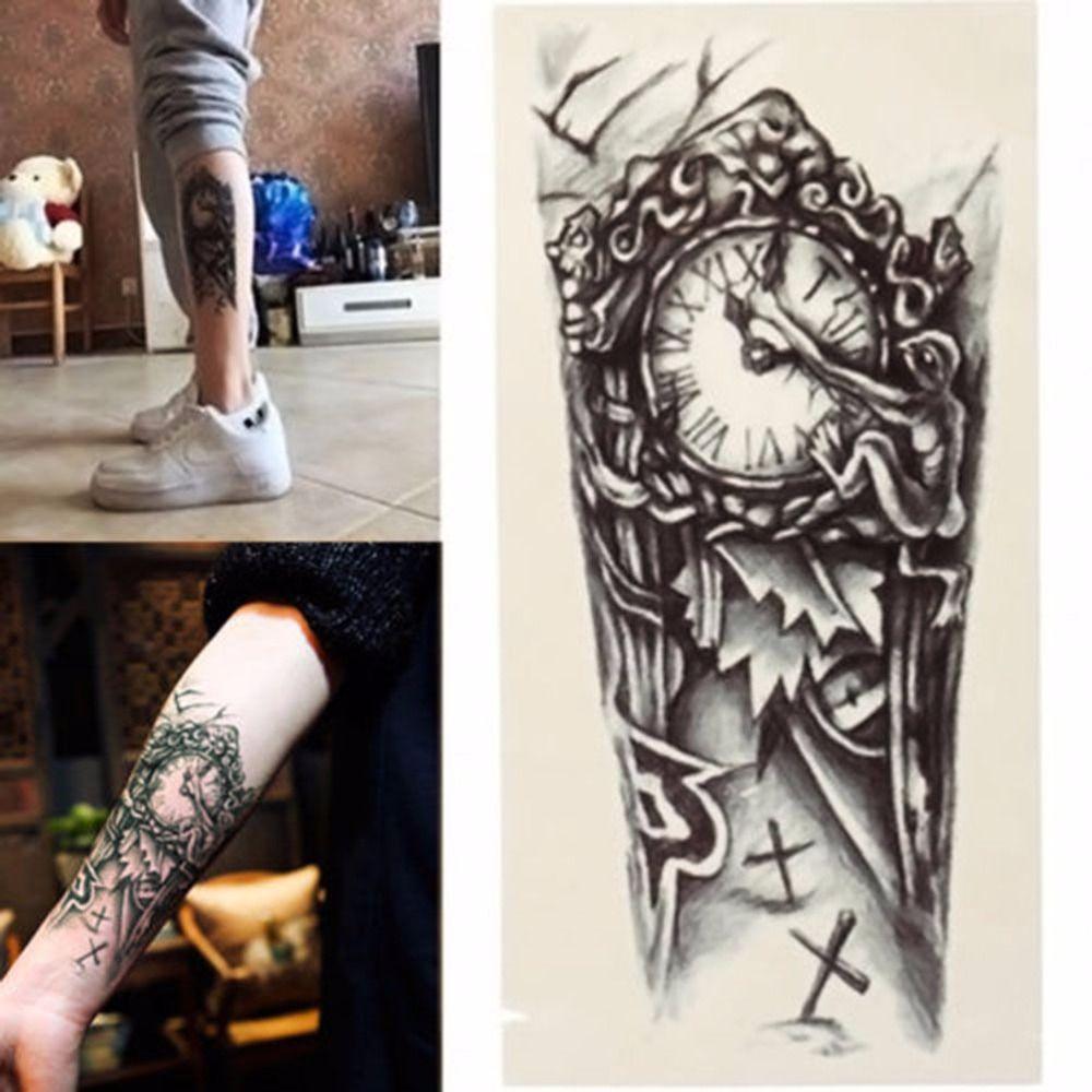 Negro 3d Fake Transferencia Falsos Tatuaje Pecho Reloj Tatuajes Para