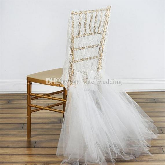 wedding chair covers for bride and groom jaxx bean bag chairs 2019 romantic lace cover with tulle ruffles custom made chiavari from yate 9 82 dhgate