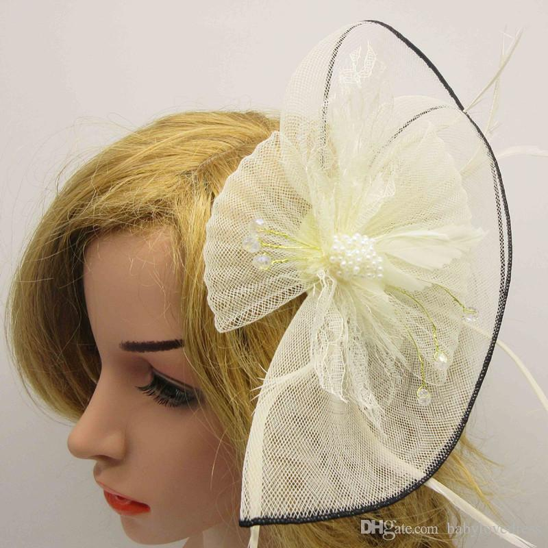 2017 double tulle bridal headpieces fan shaped wedding hair accessories beaded feathers decortion formal party banquet women s fascinators bridal hair